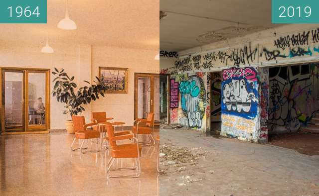 Before-and-after picture of Institut Dolomieu - Le Hall between 1964 and 2019-Oct-31