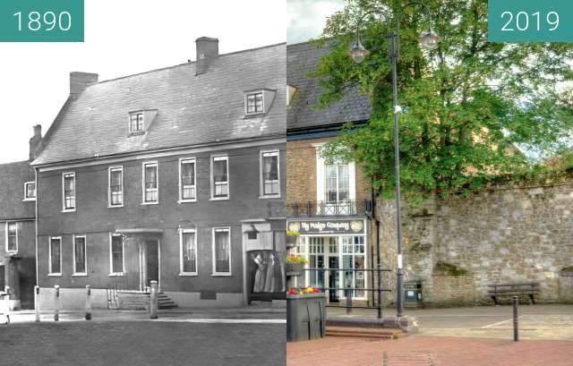 Before-and-after picture of The Three Cups Inn between 1890 and 2019-Jun-20