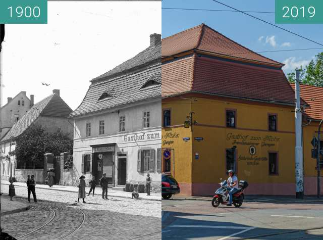 Before-and-after picture of Gasthof Zum Mohr between 1900 and 2019-Aug-31