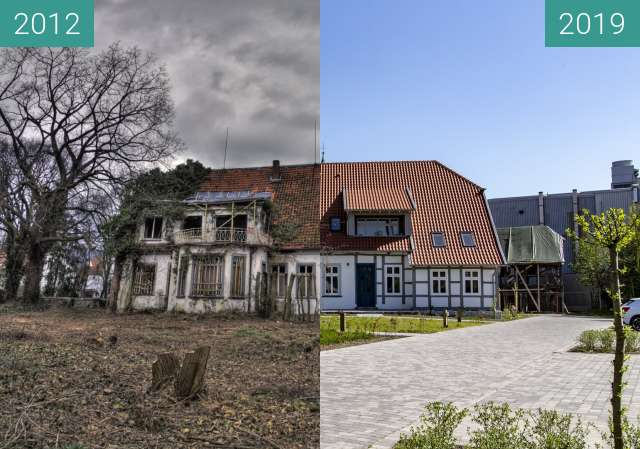 Before-and-after picture of Frommenhof 2012 vs 2019 between 2012-Mar-18 and 2019-Apr-22