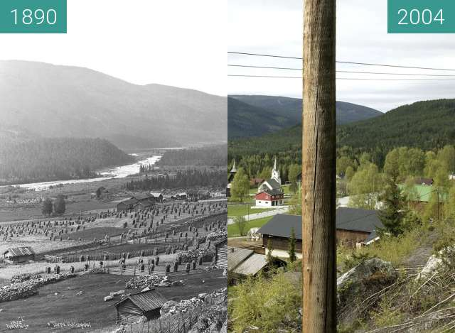 Before-and-after picture of Torpo between 1890 and 2004
