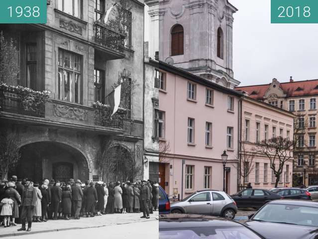 Before-and-after picture of Ulica Szewska between 06/1938 and 2018-Mar-15
