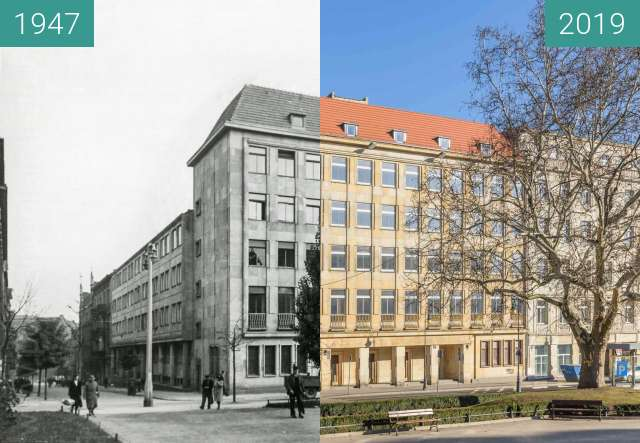 Before-and-after picture of Plac Wolności nr 16 between 1947 and 2019-Feb-16