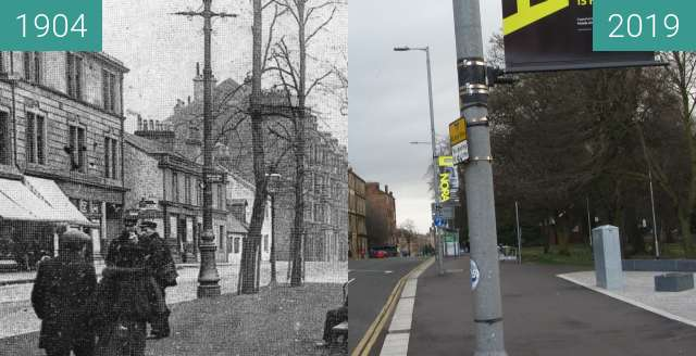 Before-and-after picture of Shawlands fountain between 1904 and 2019-Mar-24