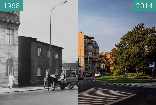 Before-and-after picture of Ulica Kościelna between 1968-Aug-12 and 2014-Aug-12