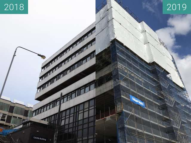 Before-and-after picture of Colville Building renovation, Glasgow between 2018-Nov-19 and 2019-May-03