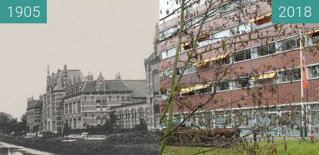 Before-and-after picture of Army school Alkmaar between 1905 and 2018-Mar-12