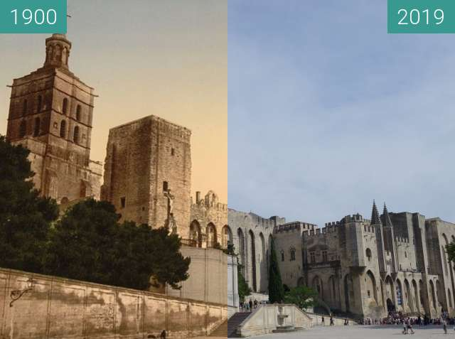 Before-and-after picture of Palais des Papes between 1900 and 2019-Aug-12