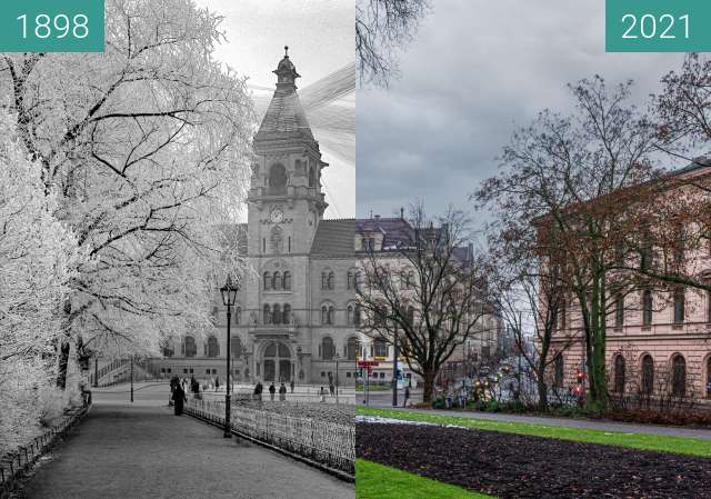 Before-and-after picture of Kaiserliches Postamt between 1898 and 2021-Jan-05