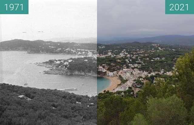 Before-and-after picture of Llafranc et Calella vu du far de Sant Sebastià between 1971-Jun-27 and 2021-Aug-04