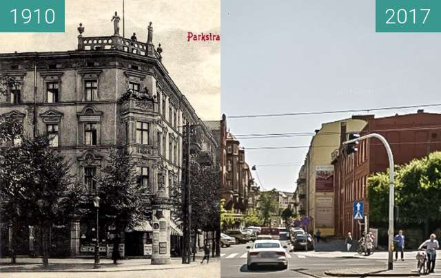 Before-and-after picture of Ulica Strusia between 1910 and 2017