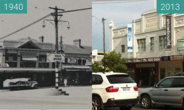 Before-and-after picture of Victoria and Lyons Roads, Drummoyne between 1940 and 2013