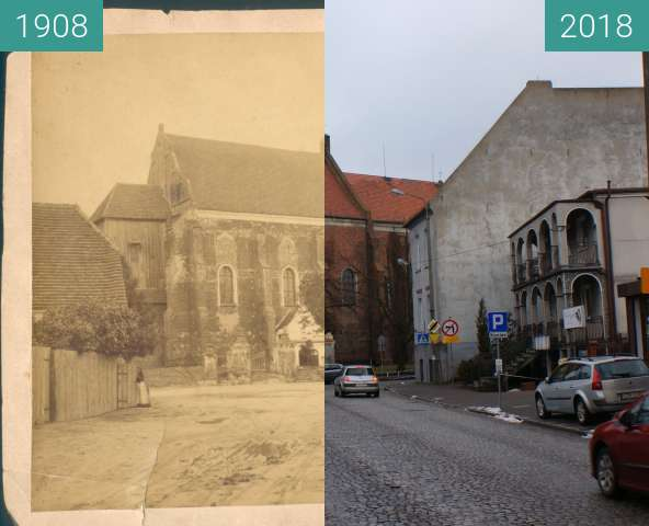 Before-and-after picture of St. Florian church between 1908 and 2018-Feb-16