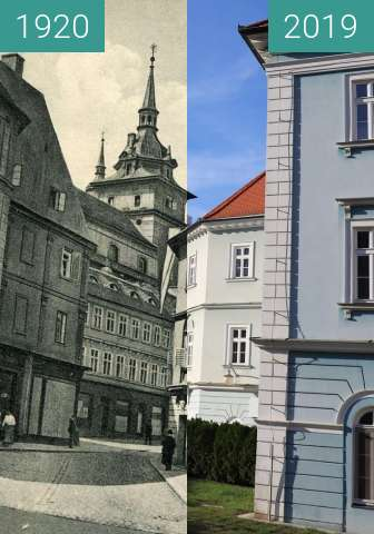 Before-and-after picture of Lázně Teplice between 1920 and 2019-Nov-19