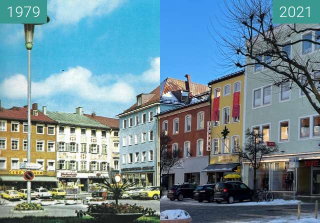 Before-and-after picture of Stadtplatz Traunstein Ansichtskarte between 1979 and 2021-Jan-15