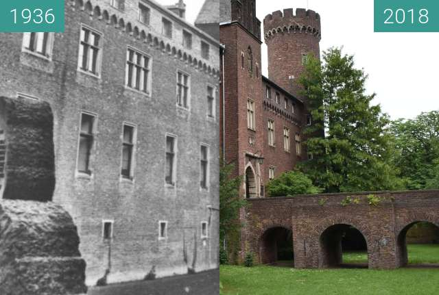 Before-and-after picture of Kempen, Kurkölnische Landesburg von 1400 between 1936 and 2018-May-29