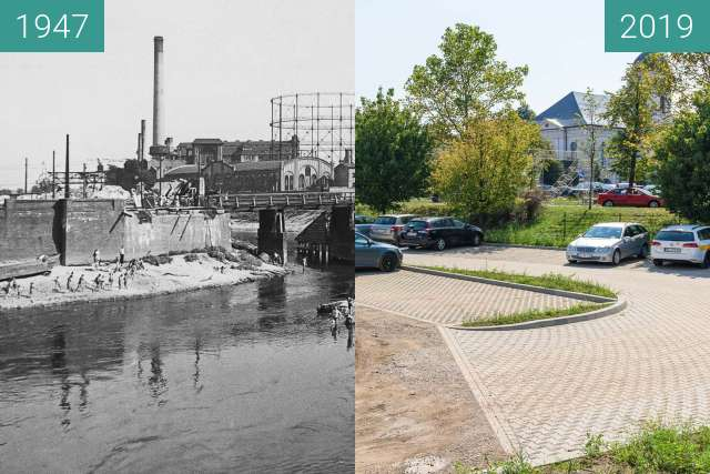 Before-and-after picture of Stare koryto Warty between 1947 and 2019