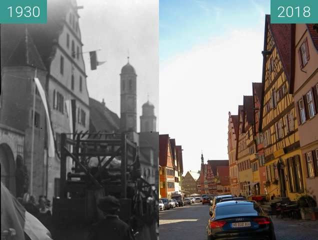 Before-and-after picture of Dinkelsbühl - ein Umzug 1920-1940 between 1930 and 2018-Oct-05