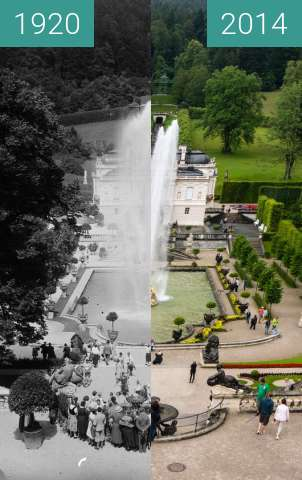Before-and-after picture of Schloss Linderhof - Bayern between 1920 and 2014-Jul-26