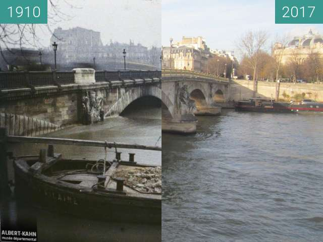 Before-and-after picture of Pont des Invalides (Great Flood) between 01/1910 and 2017-Dec-09