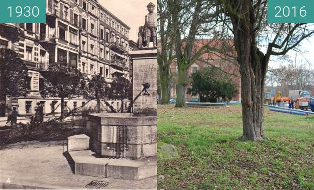 Before-and-after picture of Fritz Reuter's Monument between 1930 and 2016
