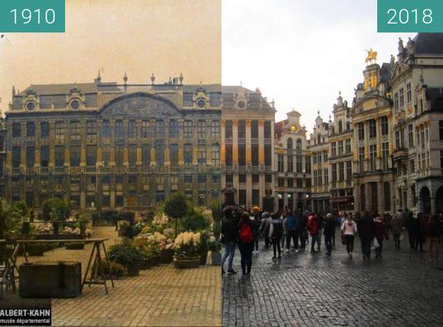 Before-and-after picture of Grand-Place/Grote Markt between 1910 and 2018-Mar-31