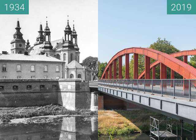 Before-and-after picture of Ostrów Tumski, katedra i most bp. Jordana between 1934 and 2019