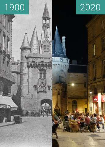 Before-and-after picture of Porte Cailhau between 1900 and 07/2020