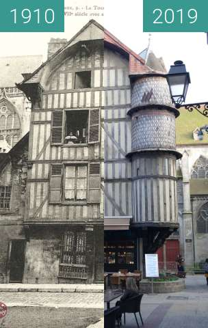 Before-and-after picture of La Tourelle de l'Orfèvre between 1910 and 2019-Mar-23