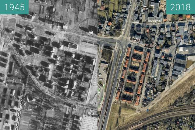Before-and-after picture of Górczyn between 1945 and 2018