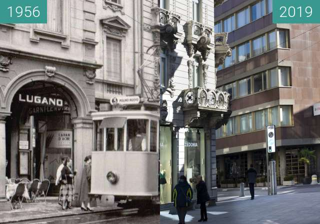 Before-and-after picture of Tram Lugano between 1956 and 03/2019