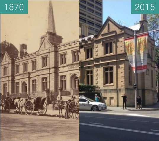 Before-and-after picture of Old Registrar General's Building between 1870 and 2015