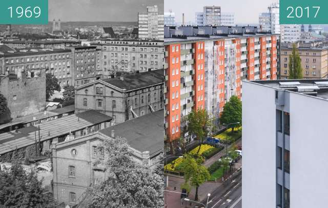 Before-and-after picture of Ulica Powstańców Wielkopolskich between 1969-Aug-26 and 2017-Apr-29