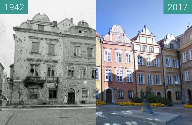 Before-and-after picture of Plac Kanonia between 09/1942 and 2017