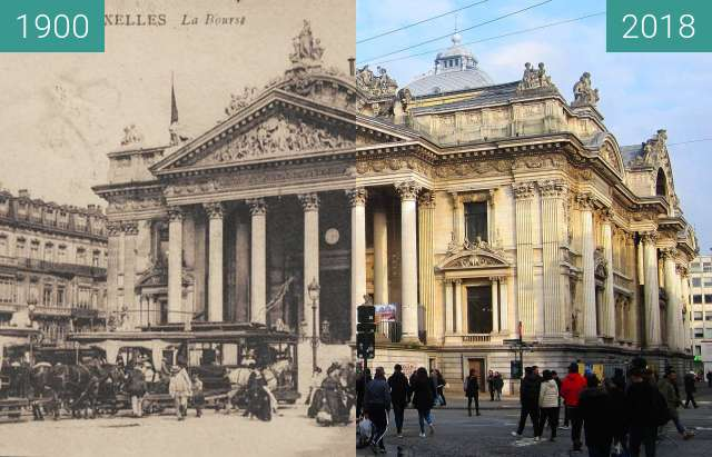Before-and-after picture of Place de la Bourse between 1900 and 2018-Apr-01