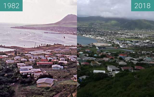 Before-and-after picture of St Kitts - Basseterre from Bird Rock between 1982 and 2018-Nov-16