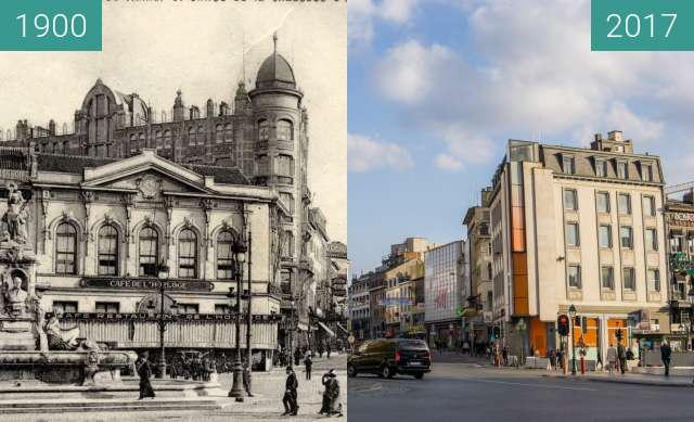 Before-and-after picture of Porte de Namur, Bruxelles between 1900 and 2017