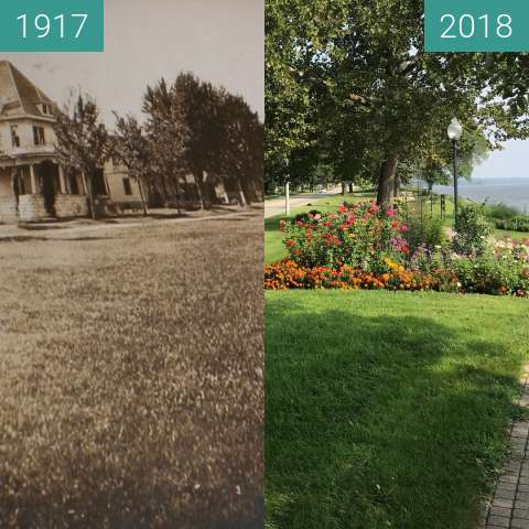 Before-and-after picture of Riverfront Park in Bellevue between 1917 and 2018-Aug-21