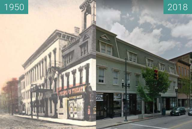 Before-and-after picture of People's Theatre between 1950 and 2018