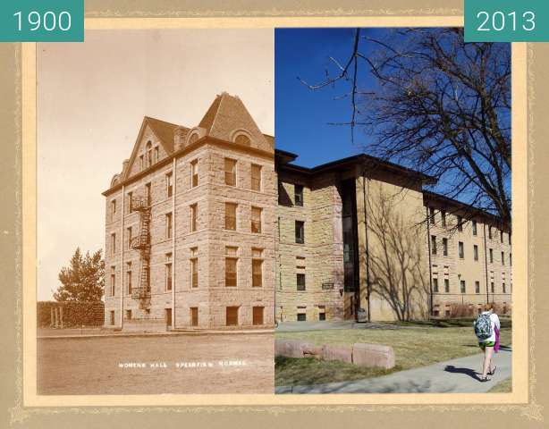 Before-and-after picture of Women's Hall - Spearfish Normal - 1900 between 1900 and 2013-Mar-28
