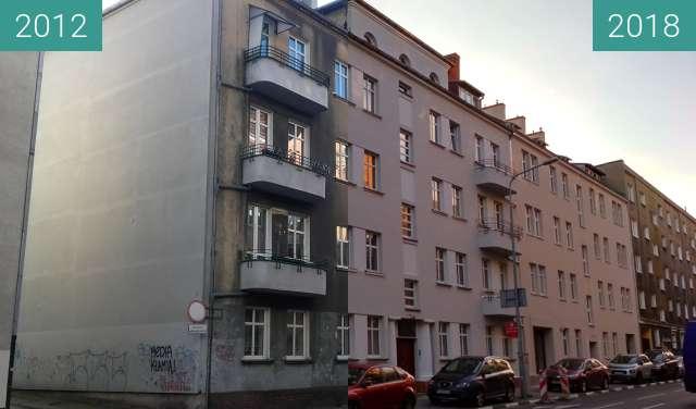 Before-and-after picture of kamienica przy Poznańskiej w Poznaniu between 2012 and 2018