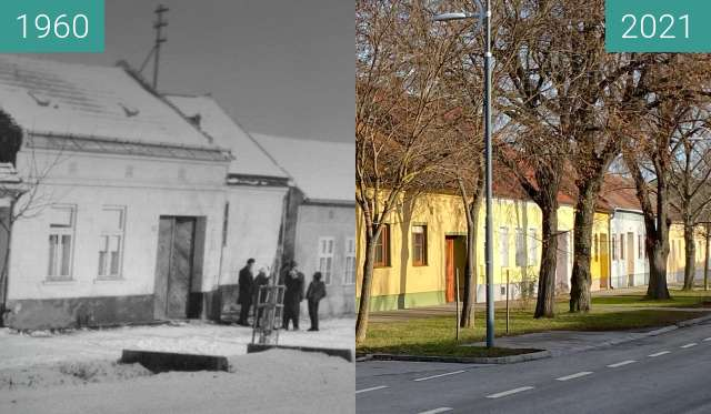 Before-and-after picture of Mittlere Hauptstraße Nickelsdorf between 12/1960 and 2021-Jan-20