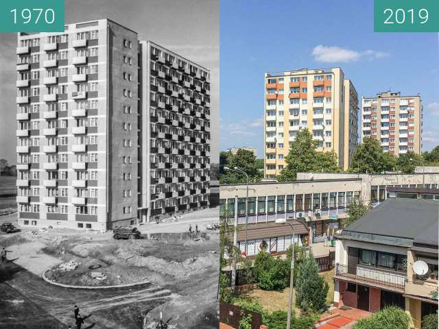 Before-and-after picture of Ulica Szydłowska between 1970 and 07/2019