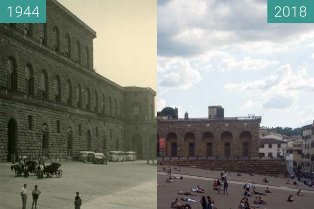 Before-and-after picture of Florence, Italy 1944/2018, Palazzo Pitti between 07/1944 and 2018-May-19
