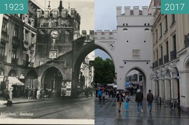 Before-and-after picture of Karlstor in München (1) between 1923 and 2017-Sep-03