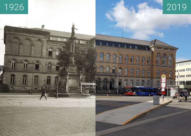 Before-and-after picture of Neumarkt, Justizgebäude mit Kriegerdenkmal between 1926 and 06/2019
