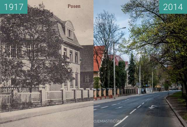 Before-and-after picture of Aleja Niepodległości between 1917 and 2014
