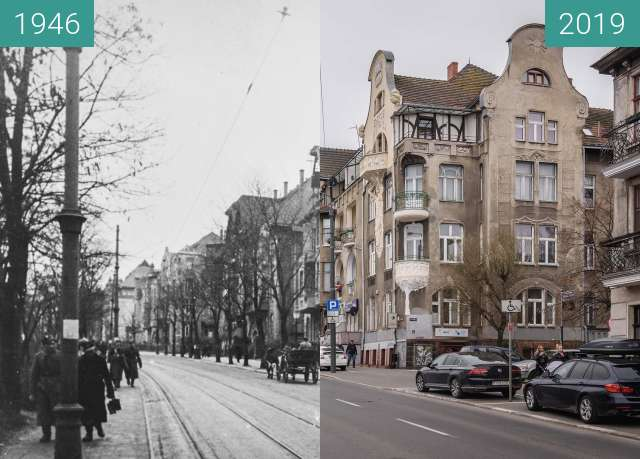 Before-and-after picture of Ulica Roosevelta between 1946 and 2019-Mar-07