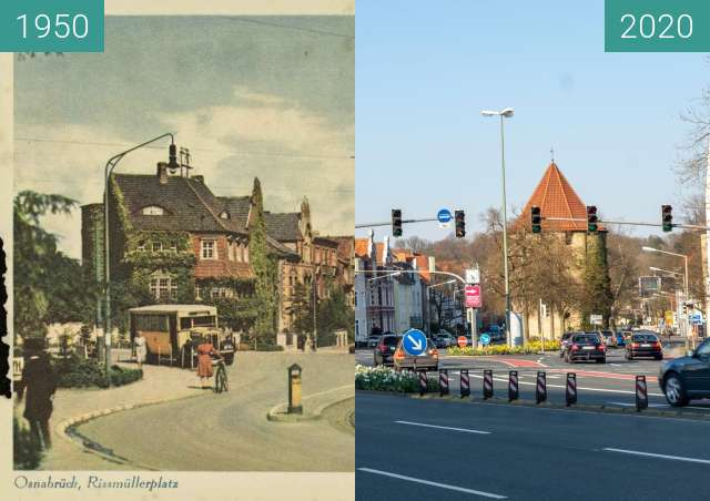 Before-and-after picture of Rissmüllerplatz between 1950 and 03/2020