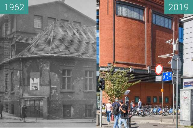 Before-and-after picture of Ulica Półwiejska between 1962 and 2019